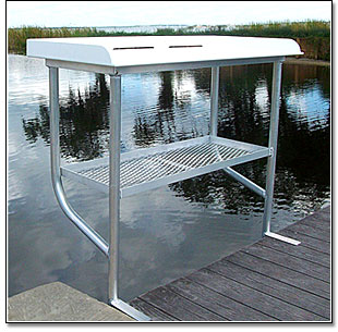 Marine dock and deck accessories for Dock fish cleaning station